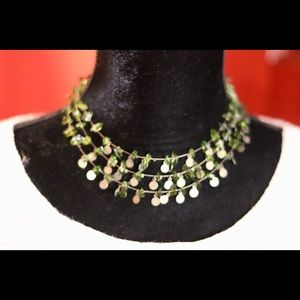 Green & bronze/ gold color  fashion necklace